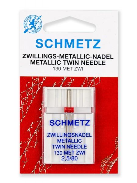 Иглы двойные для металлизированных нитей № 80/2.5, Schmetz