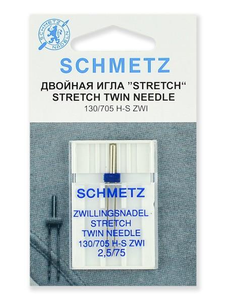 Иглы стретч двойные ZWI № 75/2.5, Schmetz