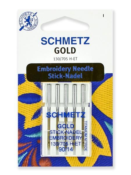 Иглы для для вышивки Gold, титаниум №90, Schmetz
