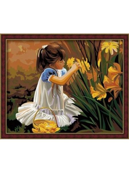 G014 Набор для раскрашивания по номерам 'Девочка с цветами', 40х50см