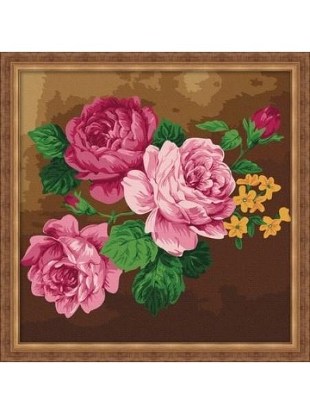 F006 Набор для раскрашивания по номерам 'Розовые розы', 40х40см